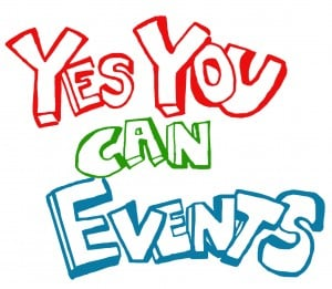 Yes You Can Events in Bubble Writing and Different Colours