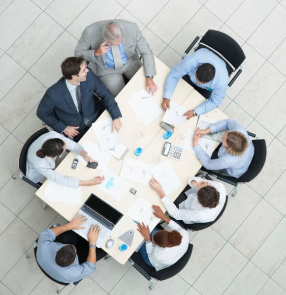 Birdseye View of a Business Meeting