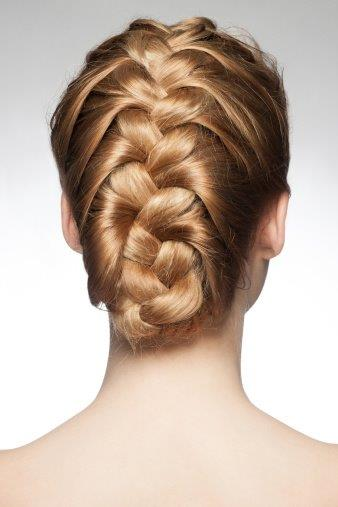 The Back of a Woman's Head Showing Braided Hair