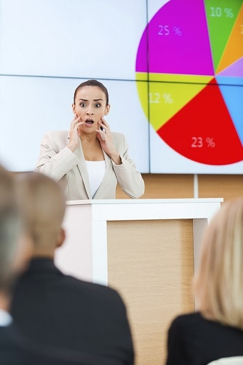 A Woman Giving a Presentation with her Hands on her Cheeks and a Shocked Face