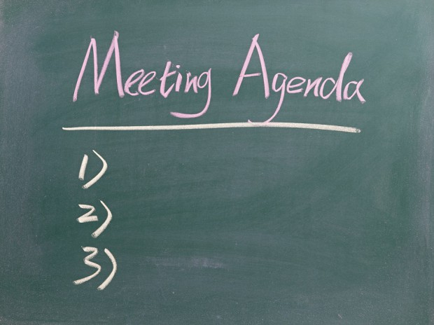 Meeting Agenda List Written in Chalk