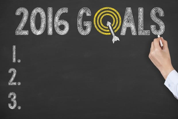 Checklist of 2016 Goals on a Blackboard