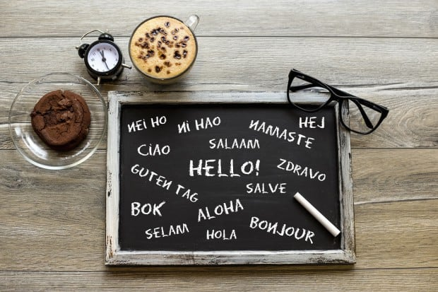 Blackboard with Different Languages to say Hello in