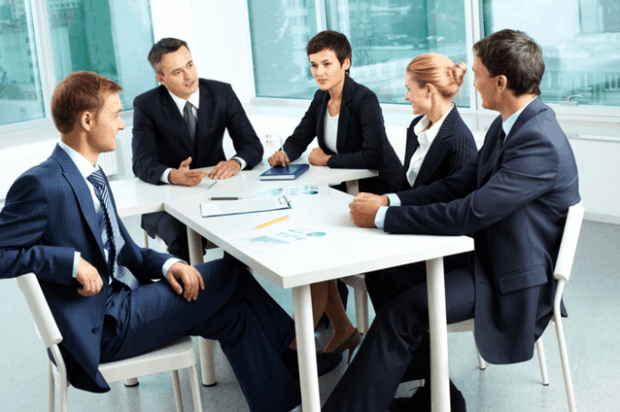 Small Business Meeting in a Modern Meeting Room