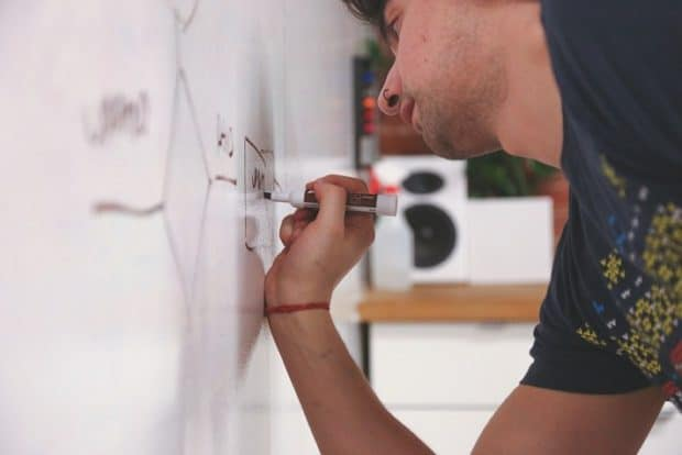 A man Drawing on a Whiteboard