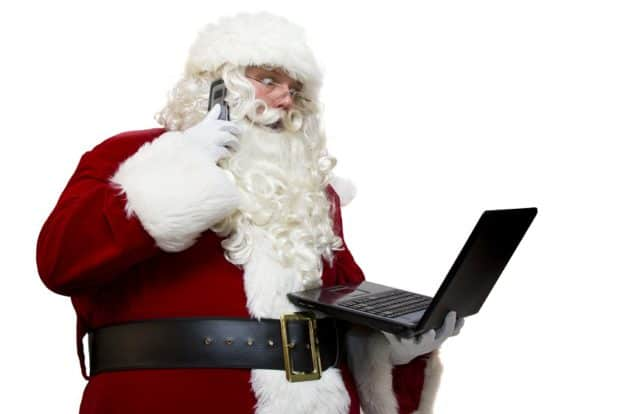 Santa on a Laptop and Phone Gasping