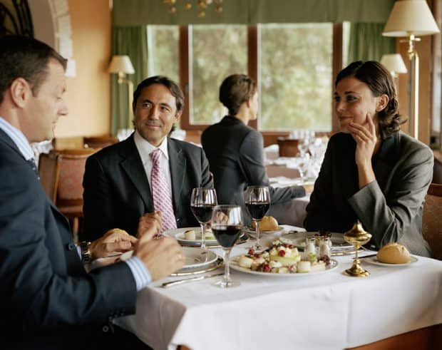 Business people eating at a restaurant