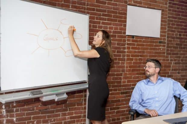 Woman Writing on a Whiteboard in a Meeting