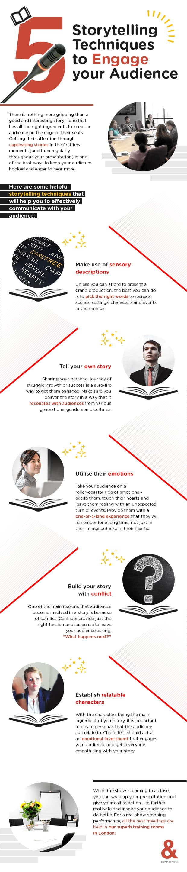 Infographic illustrating 5 storytelling techniques to engage your audience