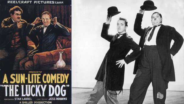 Stan Laurel and Oliver Hardy in The Lucky Dog
