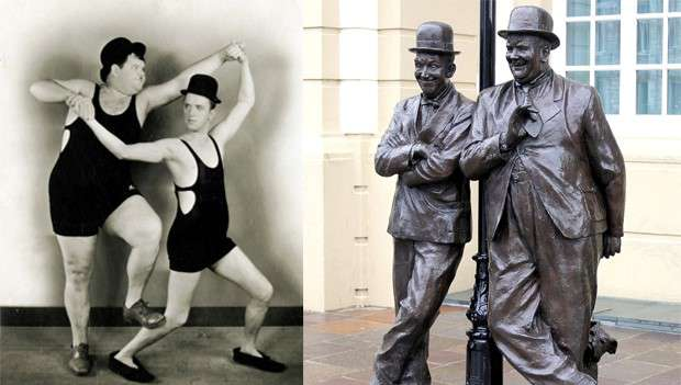Comedy couple Laurel and Hardy and their statue with their dog Gravy in Ulverston Cumbria